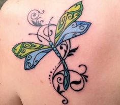 Green And Blue Wings Dragonfly Tattoo On Back Shoulder.jpg (500×438)