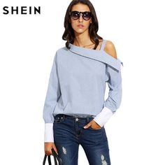 Ladies Blue Striped Fold Over Asymmetric Shoulder Long Sleeve Contrast Cuff Blouse http://southernsassuniqueboutique.com/products/shein-womens-tops-fashion-autumn-ladies-blue-striped-fold-over-asymmetric-shoulder-long-sleeve-contrast-cuff-blouse?utm_campaign=crowdfire&utm_content=crowdfire&utm_medium=social&utm_source=pinterest