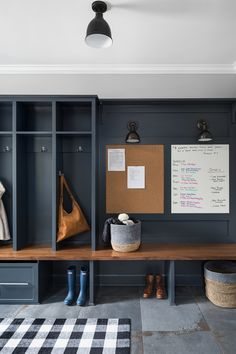 mudroom design with built in lockers, mudroom ideas with storage lockers with hooks, navy lockers in modern farmhouse mudroom Boot Room, Mudroom, Farm House Living Room, Room Design, Mudroom Design, Trendy Living Rooms, Mudroom Laundry Room, Modern Farmhouse Kitchens, Living Room Designs
