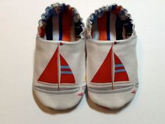 Oh. My. Goodness. SO cute!  Nautical Sail Boats Baby Boy Shoes by ShoesbySusie on Etsy, $20.00 Baby Boy Shoes, Baby Booties, Baby Boy Outfits, Kids Outfits, Sailor Baby, Nautical Baby, Baby Socks, Baby Time, Bebe