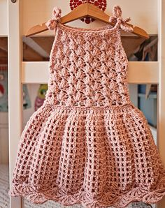 Crochet dress PATTERN Pleated Dress sizes up to 8 years