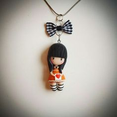 Polymer clay, Gorjuss doll necklace pendant. Follow me on facebook: https://m.facebook.com/profile.php?id=1441357136106288&_rdr: