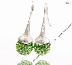 14x35mm Light Green Shiny Crystal Polymer Clay Disco Ball Alloy Dangle Earrings
