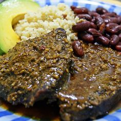 curry dry rubbed steak with red beans, couscous and zaboca.