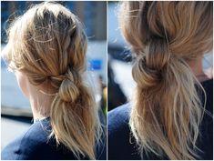 messy medium ponytail 17 Cute Hairstyles for Medium Length Hair