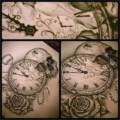 Pocket watch, rose and skull