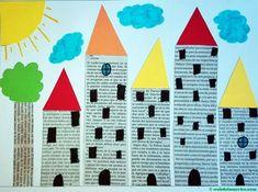 Newspaper Crafts, Paper Crafts For Kids, Art N Craft, Craft Stick Crafts, Kindergarten Art, Preschool Crafts, Art Drawings For Kids, Art For Kids, Tableau Pop Art