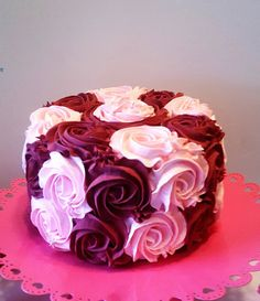 Pink and Burgundy Rosette Fake Cake by CandyLandPhotoProps on Etsy