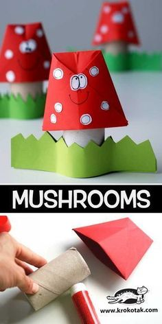 children activities, more than 2000 coloring pages Easy Fall Crafts, Fall Crafts For Kids, Art For Kids, Toilet Paper Roll Crafts, Paper Crafts For Kids, Diy And Crafts, Craft Activities, Children Activities, Mushroom Crafts