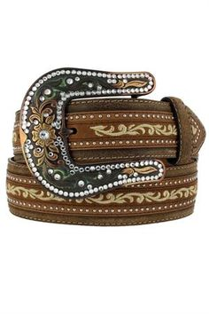 #Vintage Justin Women's Fashion Scroll Western Belt. Almost has a camo effect on the buckle.