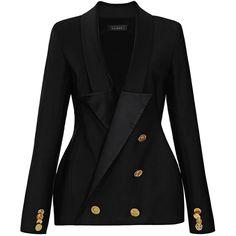 Ellery Hallucinogen Double-Breasted Tuxedo Blazer ($700) ❤ liked on Polyvore featuring outerwear, jackets, blazers, tops, coats, black, tuxedo blazer, dinner jacket, blazer jacket and wool tuxedo jacket