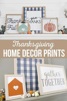 Decorating a Thanksgiving Fall Mantle will be so easy with these beautiful Thanksgiving Home Decor prints. Each print comes in 4 colors. Thanksgiving Mantle, Thanksgiving Traditions, Thanksgiving Activities, Thanksgiving Crafts, Thanksgiving Decorations, Fall Crafts, Decor Crafts, Diy And Crafts Sewing, Diy Crafts For Kids