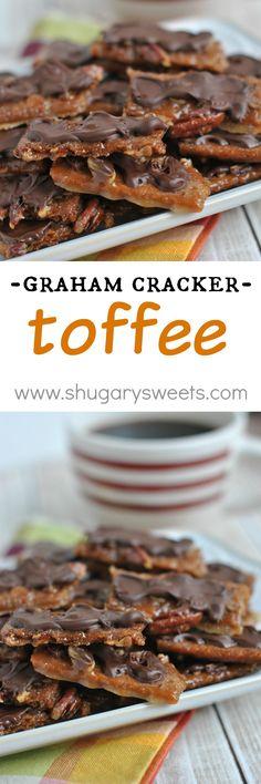 Easy Pecan Brickle Bars Graham Cracker Toffee recipe - Recipes You've Gotta Make Graham Cracker Toffee, Graham Crackers, Candy Recipes, Sweet Recipes, Dessert Recipes, Just Desserts, Delicious Desserts, Yummy Food, Tasty