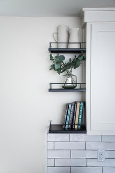 A Technical Guide to Open Shelving (Magnolia Homes) Kitchen Shelves, Wood Shelves, Kitchen Decor, Kitchen Design, Condo Kitchen, Ikea Kitchen, Floating Shelves, Office Shelving, Open Shelving