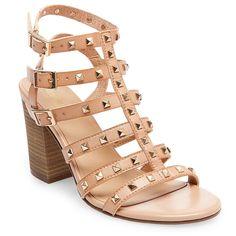 Women's Becky Studded Strappy Heel Gladiator Sandals - Tan 9.5, Beige