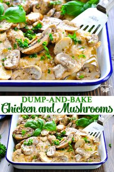 This Dump-and-Bake Chicken and Mushrooms recipe is an easy dinner that only requires 4 ingredients and about 5 minutes of prep! Cooked in an Italian-seasoned white wine sauce, the tender, juicy and fl Baked Chicken And Mushrooms, Stuffed Mushrooms, Chicken Flavors, Easy Chicken Recipes, Healthy Chicken, Easy Cooking, Cooking Recipes, 4 Ingredient Recipes, Snacks Sains