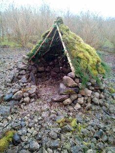 Bush shelter with stonework