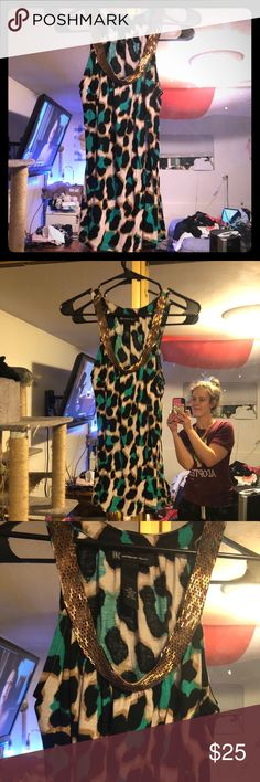 Teal leopard print embellished sleeveless top XS Super fancy!  Like new condition.  Size women's XS. Offers always accepted. INC International Concepts Tops