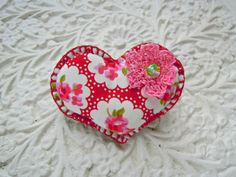 Pretty Handmade heart Brooch by RubyRedcrafts on Etsy