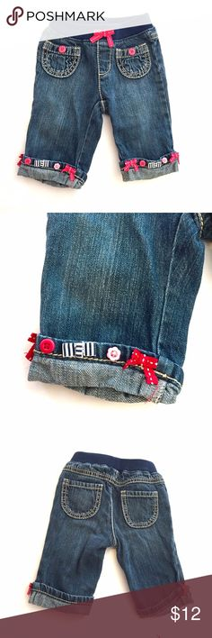 Buttons and Bows Gymboree Jeans Adorable pull-on jeans from Gymboree. They've got buttons and bows on the cuffs. Gymboree Bottoms Jeans