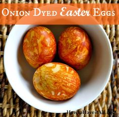 If you are looking for natural egg dying techniques, checkout these Easter Eggs Dyed With Onion Skins. Love the rusty pattern!