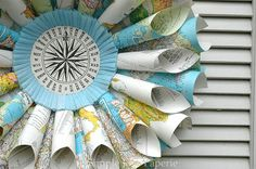 old maps used to make paper wreath