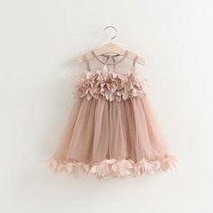 Arielle Dress. Little flower girl dress, for a spring or summer neutral toned wedding theme. Dusty rose.