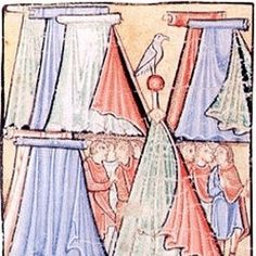 Geteld Tents and a Cone Tent. Eadwine Psalter, 1155-1160AD