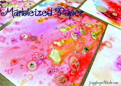 Marbelized Paper...a different way of creating beautiful artwork on paper.  Although it's messy your kids will love it!        #homemadepaper #kidscrafts #kids #children #paper
