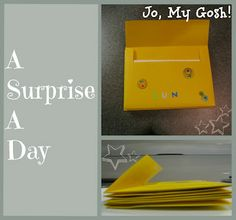 Jo, My Gosh!: Signed, Sealed, Delivered...7 envelopes glue 7 different items that fit into envelopes stickers/markers  Directions: Spread glue on the inside flap of one of your envelopes and glue it to the bottom of the front of another envelope. Repeat process until you have 7 envelopes   Decorate the envelopes.  Stuff each envelope with fun stuff!