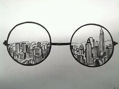 Doodle art 554857616587220660 - Creative Drawing Ideas, keep the round glasses and instead of skyscrapers but in Hogwarts Source by Tumblr Hipster, Hipster Art, Hipster Ideas, Black And White Drawing, Black And White Artwork, Black White, Drawing Sketches, Sketching, Pencil Drawings