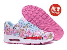 hot sales 59d16 f80bd Nike Air Max 90 ID Chaussure de Running Pour Femme - Pas Cher Officiel  Blanc rose bleu