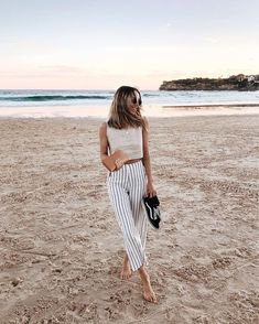 high waist straight leg ankle striped pants, sneakers, crop top