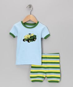 Take a look at the Blue & Green Lawn Mower Pajama Set - Infant on #zulily today!