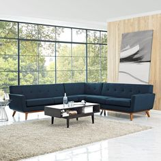 Engage L-Shaped Sectional Sofa in Azure - Lifestyle