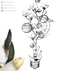 Broken bulb - Broken bulb Dotwork galaxy planets flower tattoo design – full design and temporary tattoos avail - Space Drawings, Art Drawings Sketches, Tattoo Drawings, Tattoo Illustrations, Tattoo Ink, Kunst Tattoos, Body Art Tattoos, Sleeve Tattoos, Space Tattoos
