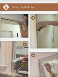 Türrahmen streichen Scratches and splinters make it necessary at times to paint the door frame. This guide shows how to paint a steel frame. Bathroom Renovations, Home Renovation, Home Remodeling, Diy Projects To Sell, Diy Canvas, Smart Home, Bathroom Medicine Cabinet, Building A House, Diy And Crafts