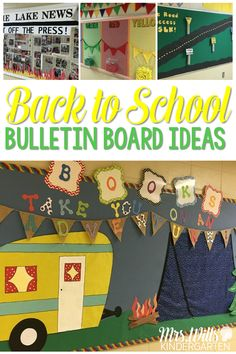 Back to school bulletin board ideas are here! Camping, In the News, Welcome to Kindergarten, plus a few school-wide behavior bulletin boards! Perfect for back to school!