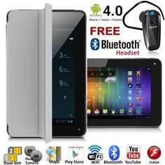 inDigi Android Phablet GSM Dual-Sim Tablet Phone w/ Smart Cover + Free Bluetooth Headset ~Grey Android 4, Android Smartphone, Phone Codes, Ps4 Headset, Cell Phones For Sale, Unlocked Phones, Tablet Phone, Multi Touch, Bluetooth Headphones
