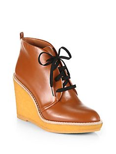 Marc by Marc Jacobs Classic Leather Lace-Up Wedge Ankle Boots