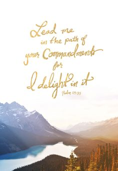 Teach me, O LORD, the way of your statutes;and I will keep it to the end.Give me understanding, that I may keep your lawand observe it with my whole heart.Lead me in the path of your commandments,for I delight in it.(Psalm 119:33-35 ESV)