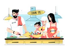 Family cooking food together vector illustration. Grandma, mom, daddy standing in kitchen and cutting vegetables for salad flat style design. Free Vector Images, Vector Free, Tired Man, Web Design, Design Ideas, Family Illustration, Flat Illustration, Fitness Icon