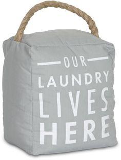 Open Door Decor - Our Laundry Lives Here Gray Decorative Door Stopper Shelf Decor