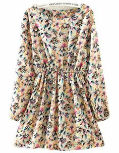 Beige Long Sleeve Floral Pleated Dress pictures