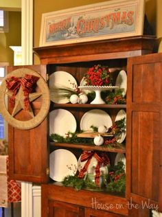 A Christmas decorated Corner Cabinet