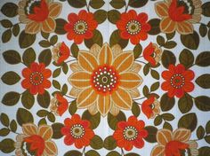 Vintage 70s floral orange tablecloth  made in von SuitcaseInBerlin, €19,50