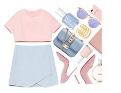 """A Common Space"" by monmondefou ❤ liked on Polyvore featuring Le Specs, Valentino, Essie, Stella & Dot, Christian Louboutin, Kate Spade, Blue, rose, pastel and pastels"