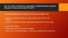 RES 351 WEEK 4 INDIVIDUAL ASSIGNMENT UNDERSTANDING BUSINESS  #https://youtu.be/_JLQqPOyCU4