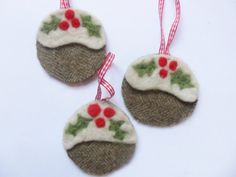 Three Jolly Tweed Christmas Pudding decorations