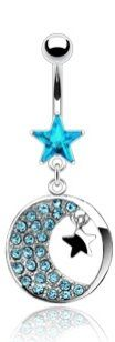 Amazon.com: 316L Surgical Steel Navel Jewelry with Crescent Moon & Star Crystal in Aqua Blue: Jewelry